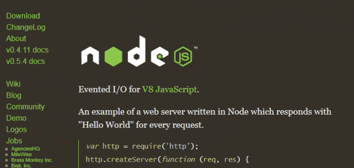 Screenshot der Node.js Homepage