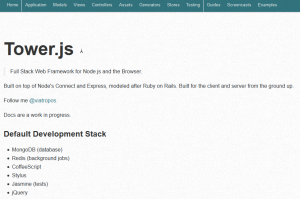 Screenshot der Tower.js Homepage
