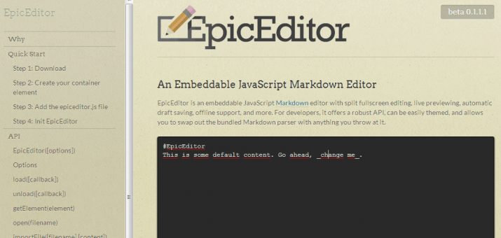 Screenshot von EpicEditor
