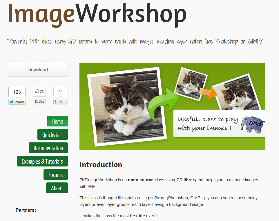 Screenshot der PHPImageWorkshop-Homepage