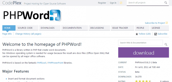 Screenshot der PHP Library PHP Word