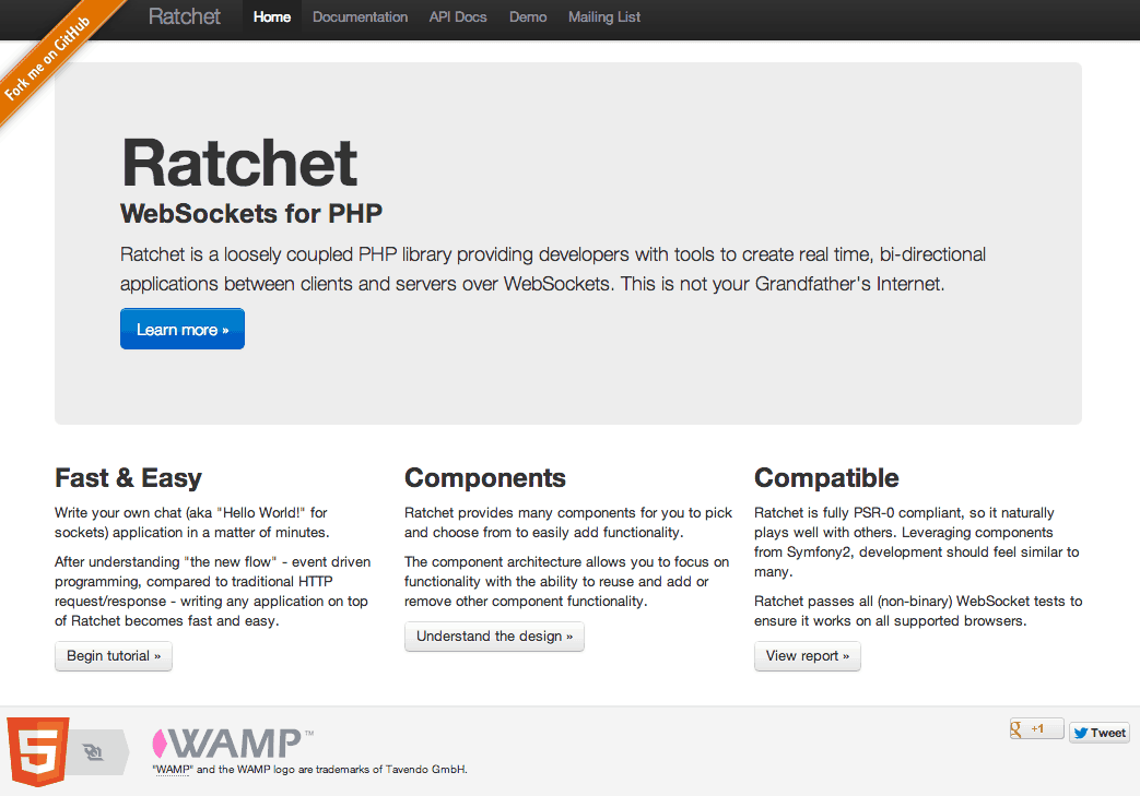 Screenshot der Ratchet Homepage