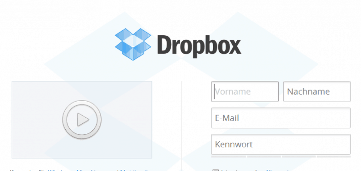 Screenshot der Dropbox Homepage