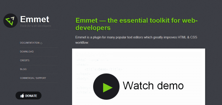 Screenshot der Emmet Homepage