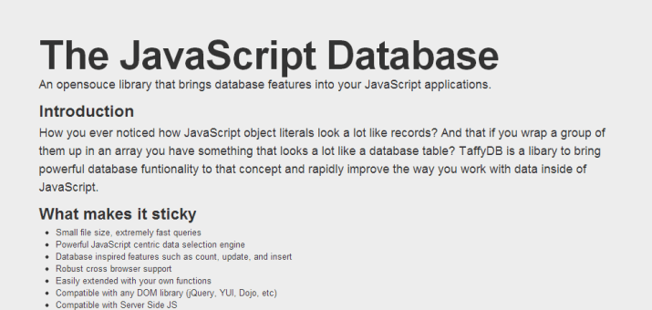 Screenshot der TaffyDB Homepage