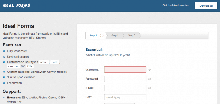 Screenshots eines HTML5 Formulars mit Ideal Forms