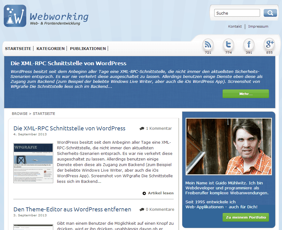 Screenshot von Webworking