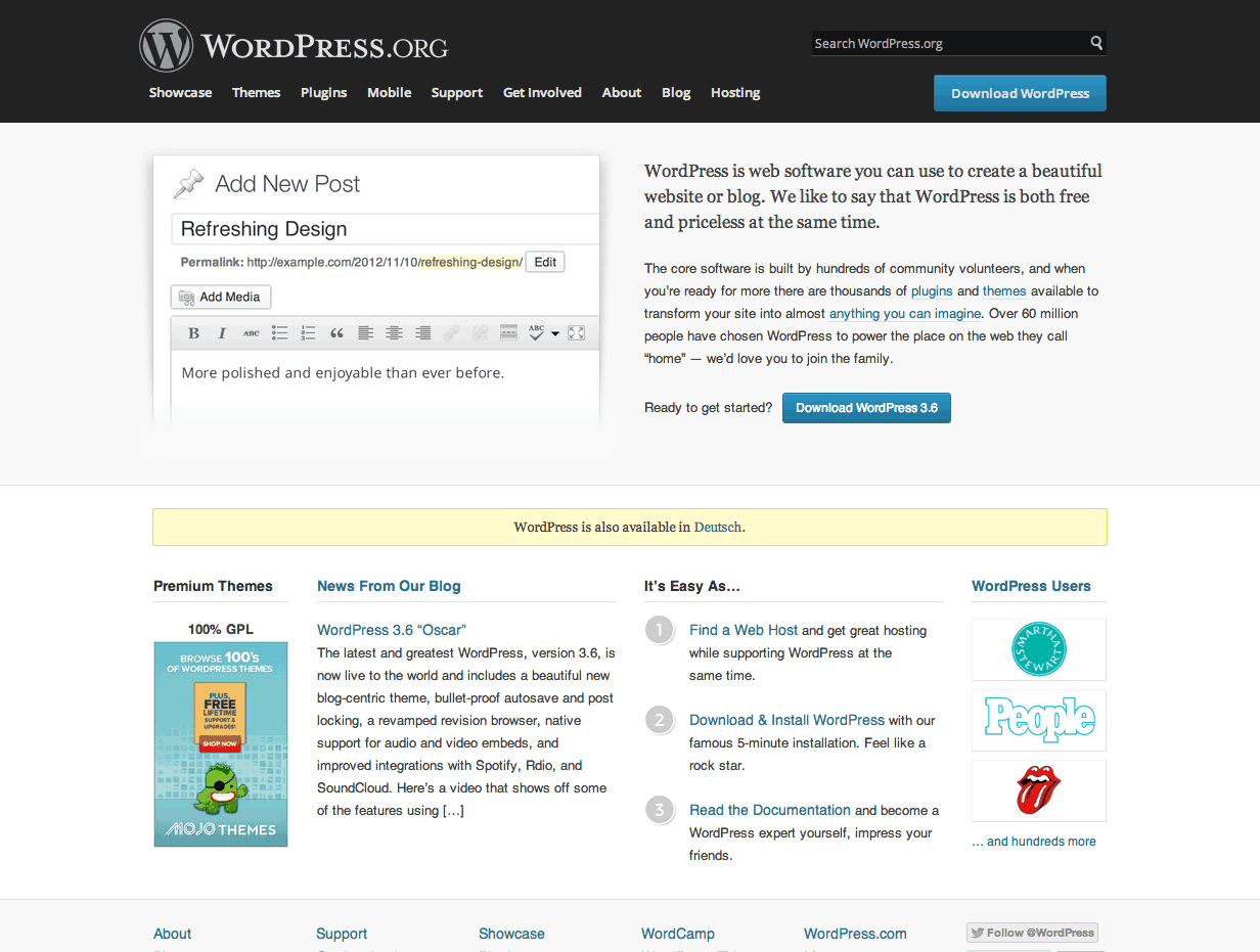 Screenshot der WordPress Homepage