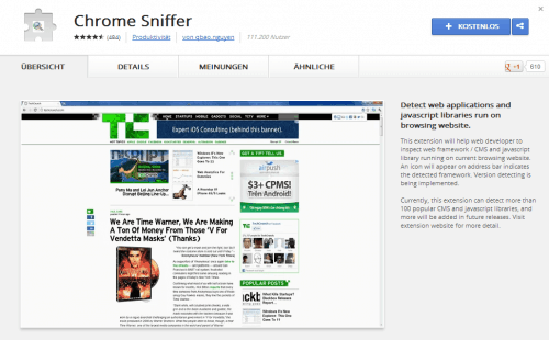Screenshot von Chrome Sniffer im App Store