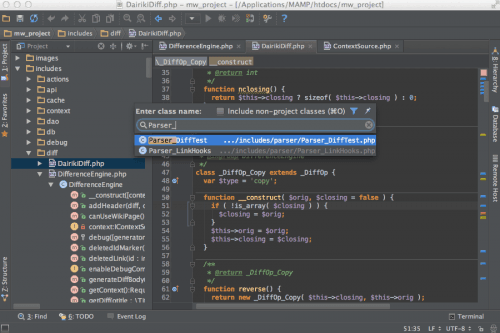 Screenshot von PhpStorm
