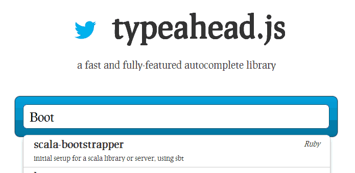 Screenshot von Typeahead.js