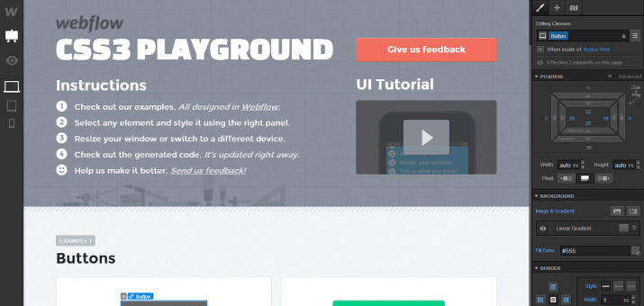 Screenshot des Webflow Playgrounds