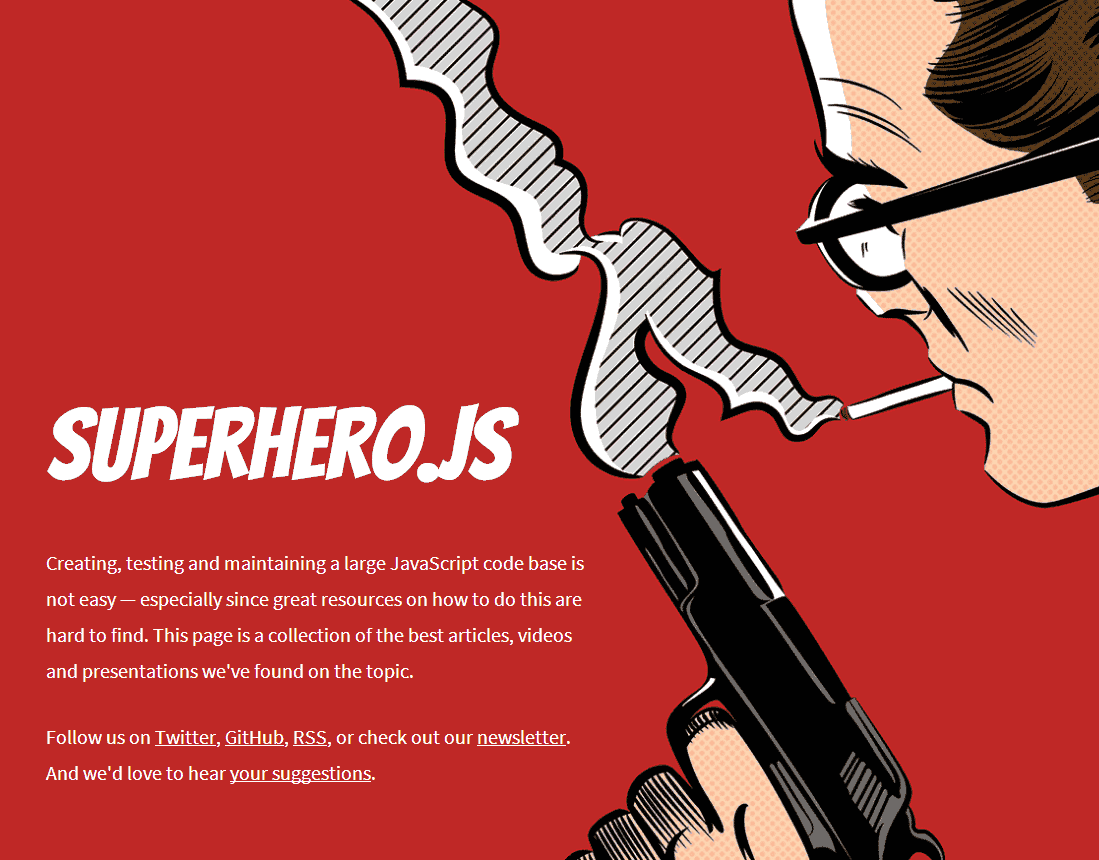 Screenshot von Superhero.js