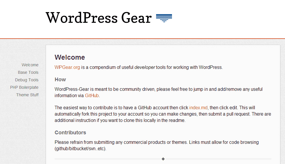 Screenshot von WordPress Gear