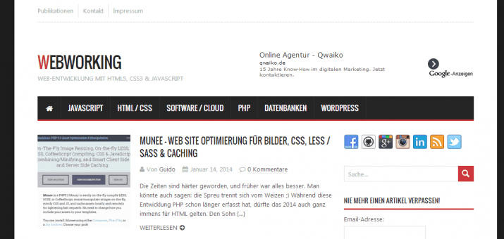 Screenshot des neuen Webworking