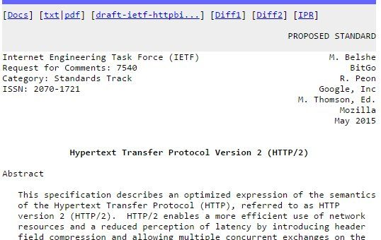 Screenshot des RFC 7540 - HTTP/2