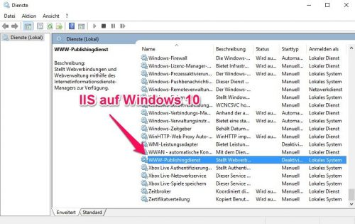 IIS in den Diensten von Windows 10
