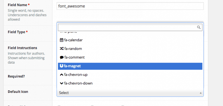 Font Awesome in den Advanced Custom Fields