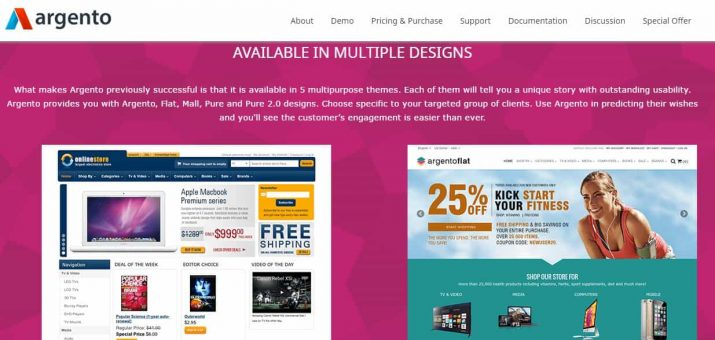 Screenshot Argento Magento Template